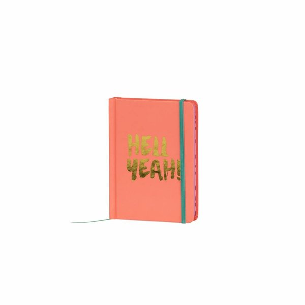 Notebook small hardcover / gold foil stamp / contrast colored edges&band peach