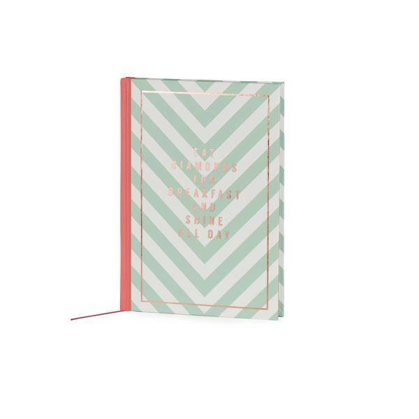 Notebook medium hardcover / gold foil print stamp /  stripes