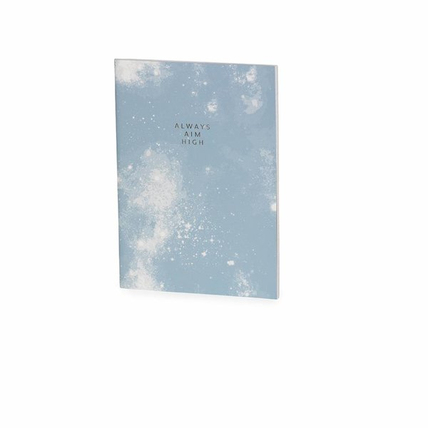 Notebook medium softcover / thread sewn / foil + fluo details / light blue