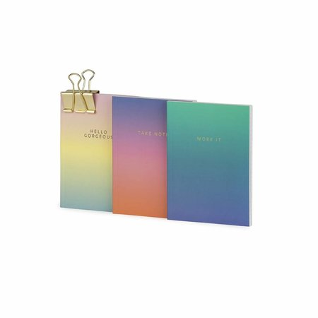 Studio Sweet & Sour  Notebook small softcover / set of 3 / gradient + quote / foil stamp / clip