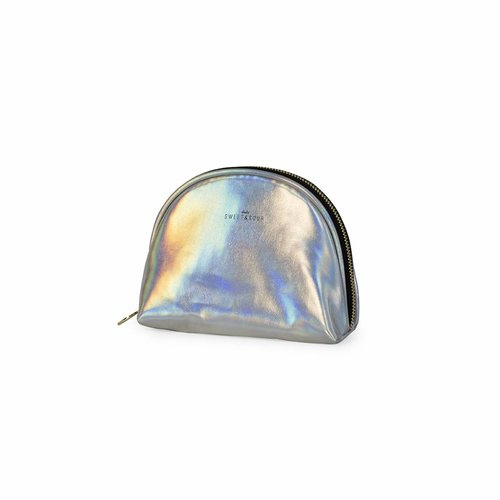 Studio Sweet & Sour  Make-up bag round small / holographic silver  / PU