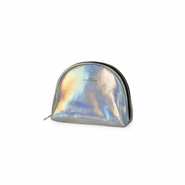 Make-up bag round small / holographic silver  / PU