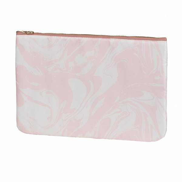 Make-up bag flat large  / pink marble allover / polyester