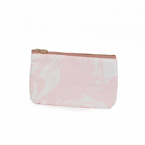 Make-up bag flat small  / pink marble allover / polyester