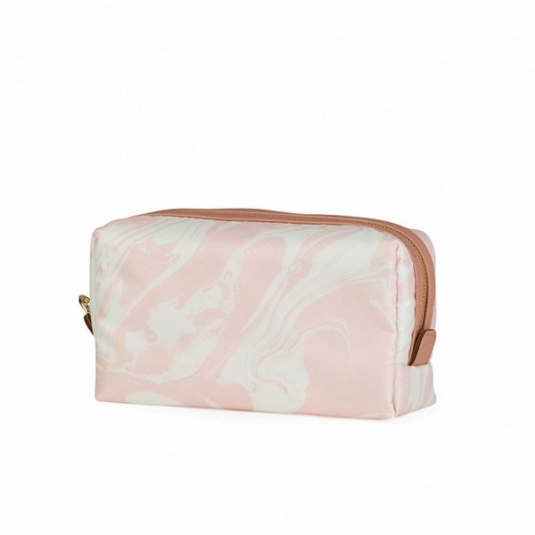 Make-up bag square medium / pink marble allover
