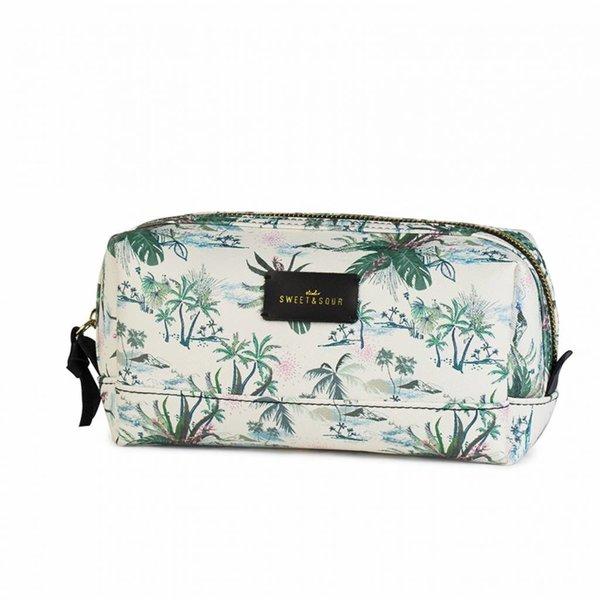 Make-up bag square medium / green leaves allover / PU