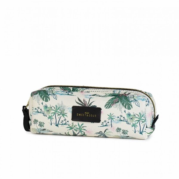 Make-up bag square small / green leaves allover / PU