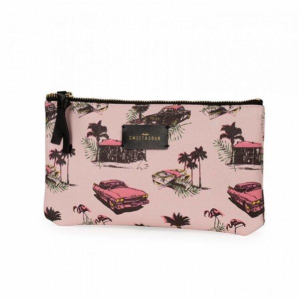 Make-up bag flat / pink cadillac allover / PU