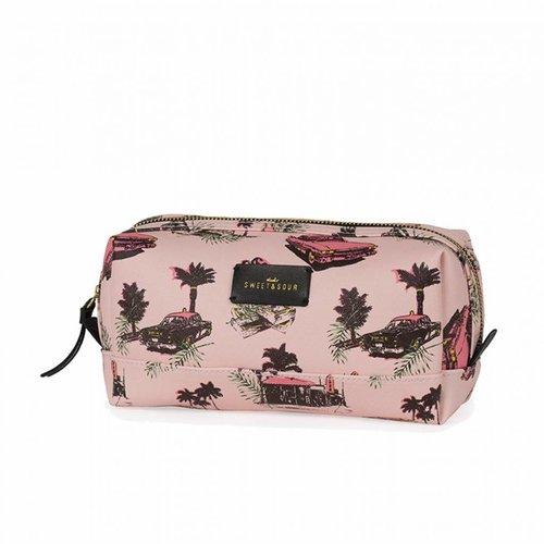 Studio Sweet & Sour  Make-up bag square medium  / pink cadillac allover / PU
