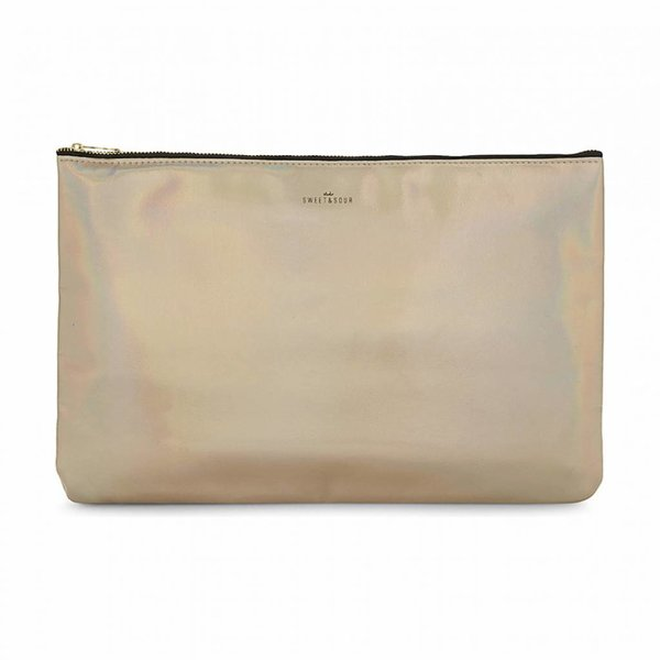 Make-up bag flat large  / gold grain / PU