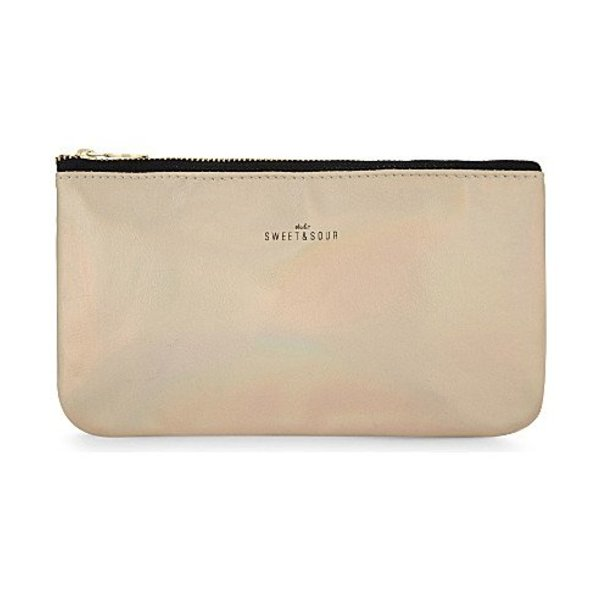 Make-up bag flat small / gold grain / PU