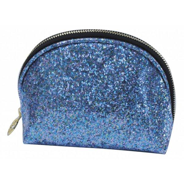 Make-up bag round small / blue glitter / PU