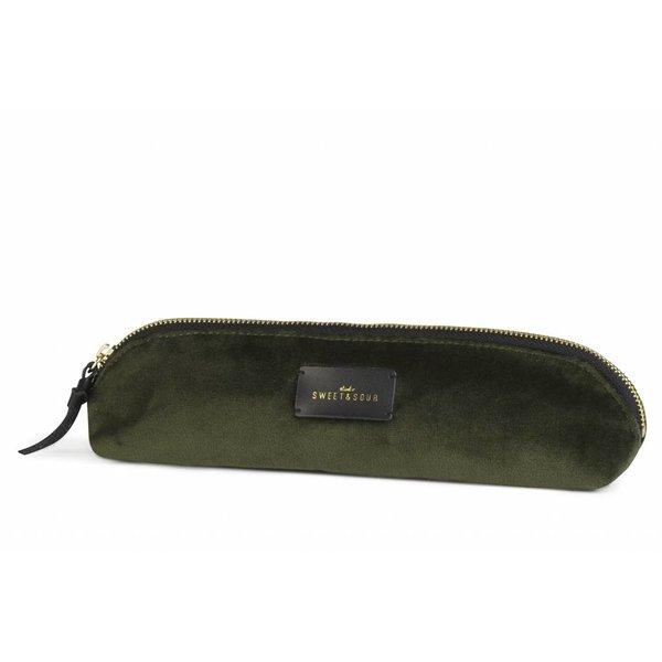 Slim pencil case / super soft velvet / green