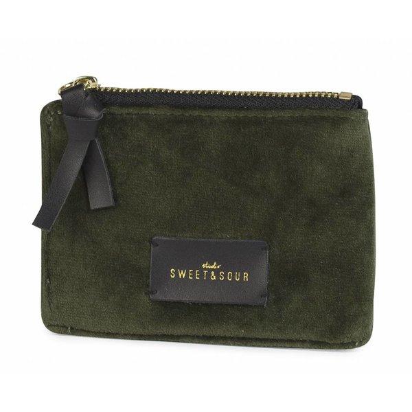 Coin pouch / super soft velvet / green