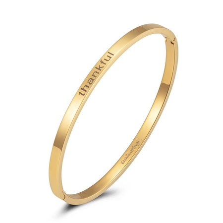 Fashionthings Bangle thankful goud 4mm