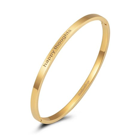 Fashionthings Bangle happy thoughts goud 4mm