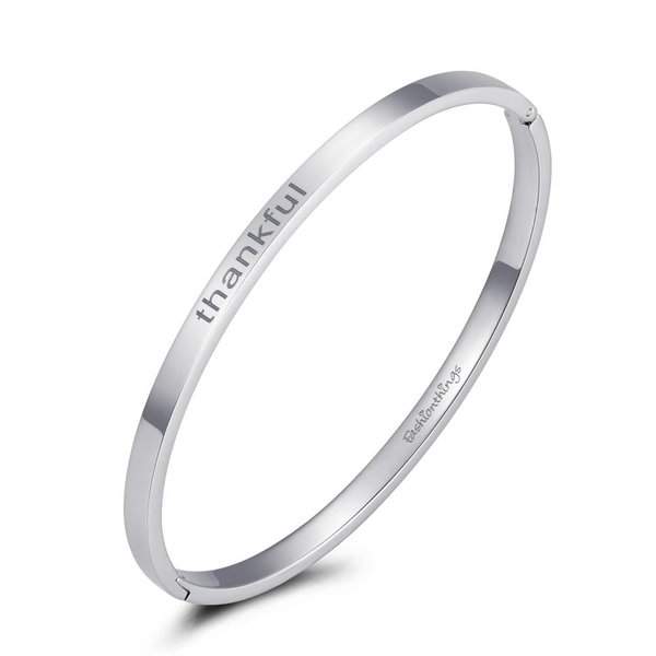 Bangle thankful zilver 4mm