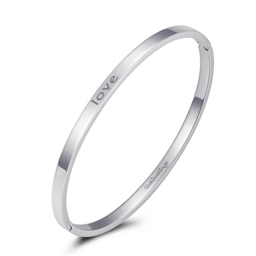Fashionthings Bangle love zilver 4mm