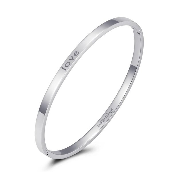 Bangle love zilver 4mm