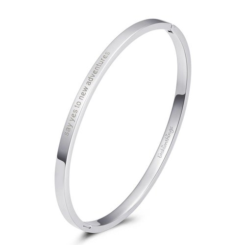 Fashionthings Bangle say yes to new adventures zilver 4mm