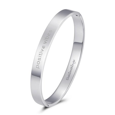 Fashionthings Bangle positive vibes zilver 8mm