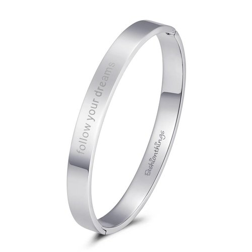 Fashionthings Bangle follow your dreams zilver 8mm