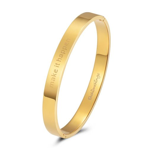 Fashionthings Bangle make it happen goud 8mm