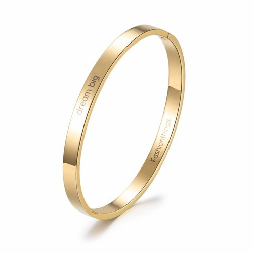 Fashionthings Bangle dream big goud 6 mm