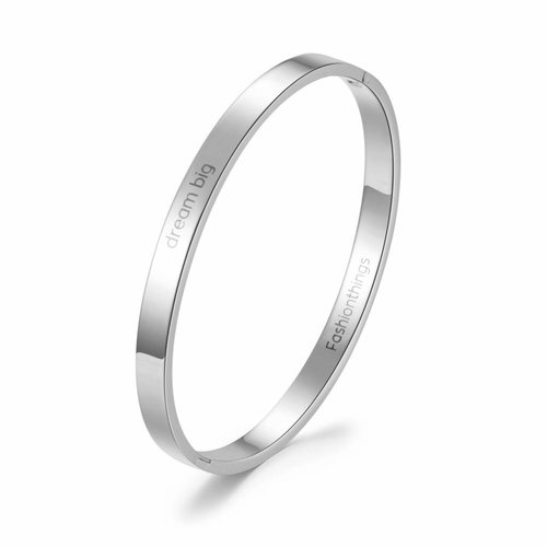 Fashionthings Bangle dream big zilver 6 mm