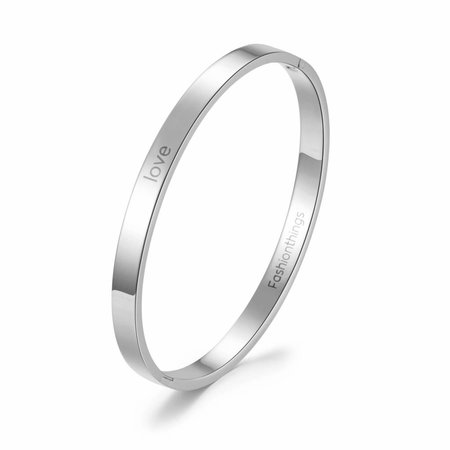 Fashionthings Bangle love zilver 6 mm