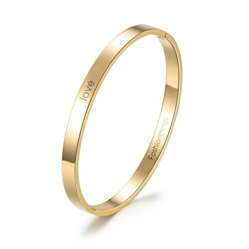 Fashionthings Bangle love goud 6 mm