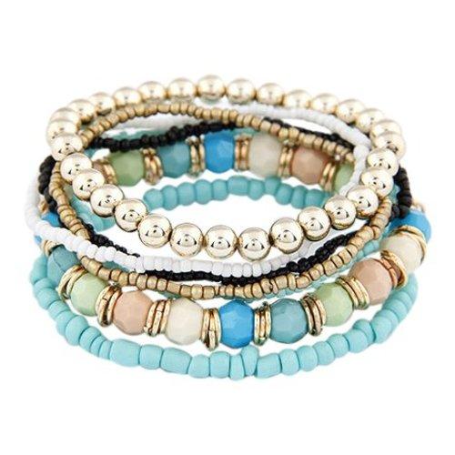 Bohemian style armbandjes blauw