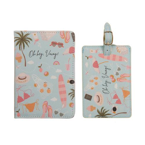 Fashionthings Oh hey, vacay! Paspoorthoesje + luggage label - giftbox