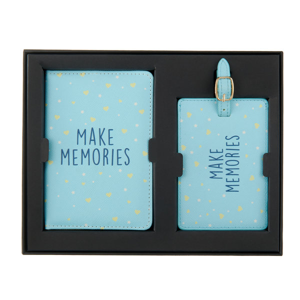Make memories Paspoorthoesje & luggage label - Giftbox