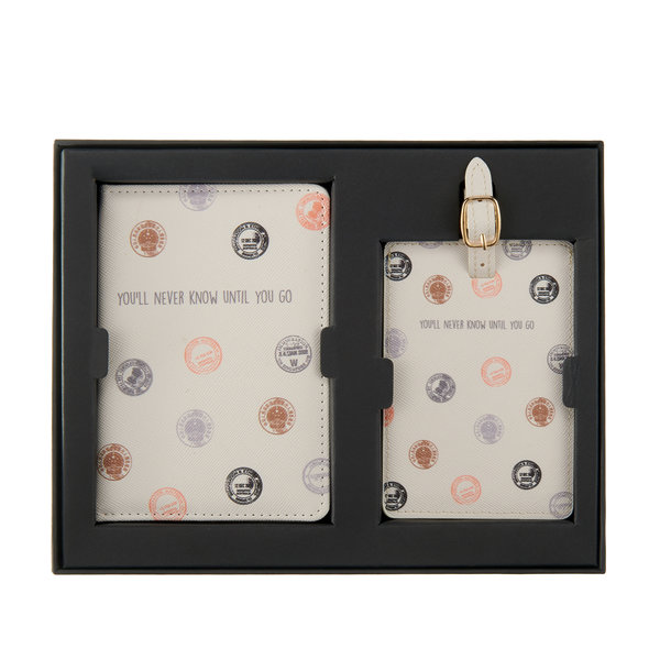 You'll never know until you go Paspoorthoesje & luggage label - Giftbox