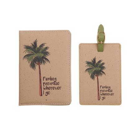 Fashionthings Finding paradise wherever I go Paspoorthoesje & luggage label - Giftbox