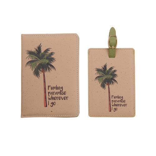 Fashionthings Finding paradise wherever I go Paspoorthoesje & luggage label - Giftbox