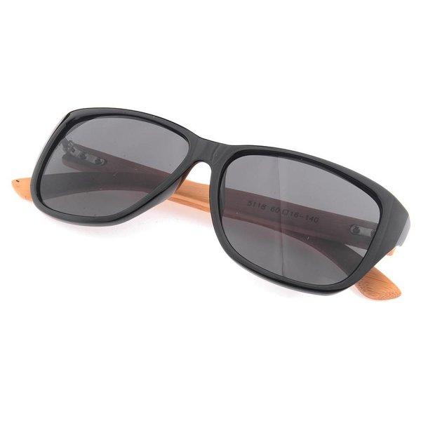 Half Bamboo Sunglasses (shiny black)