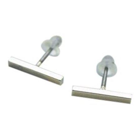Straight line zilver oorbellen