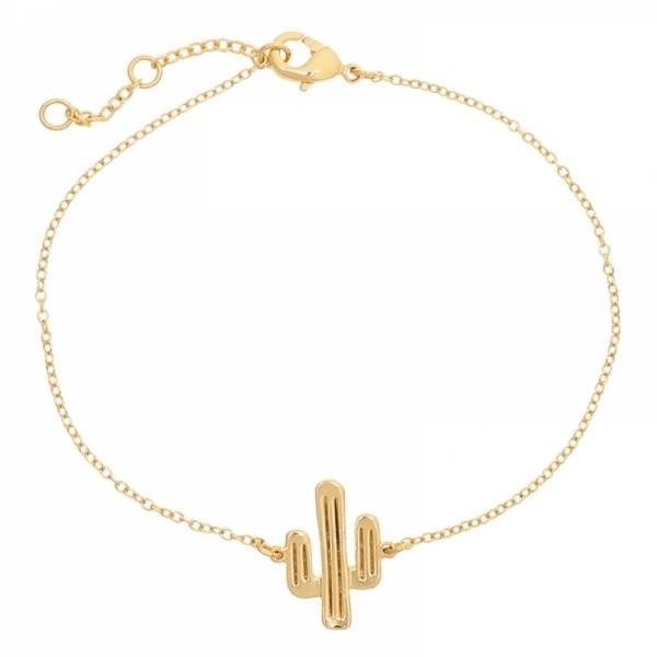 Cactus armbandje goud