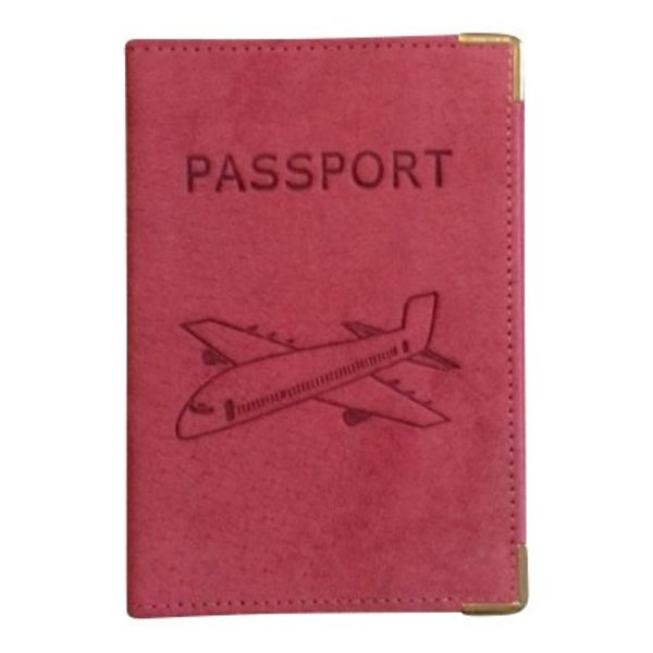 Vliegtuig Paspoort Hoesje donker roze