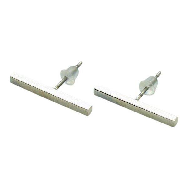 Straight line 2 cm zilver oorbellen
