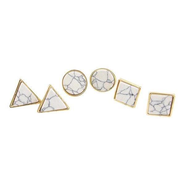 Marble oorbellen driekhoek