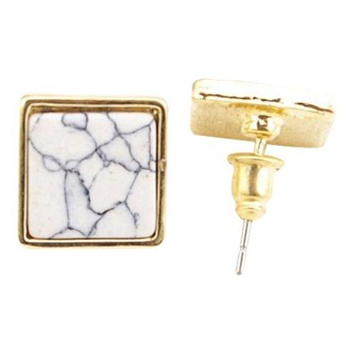 Marble oorbellen vierkant