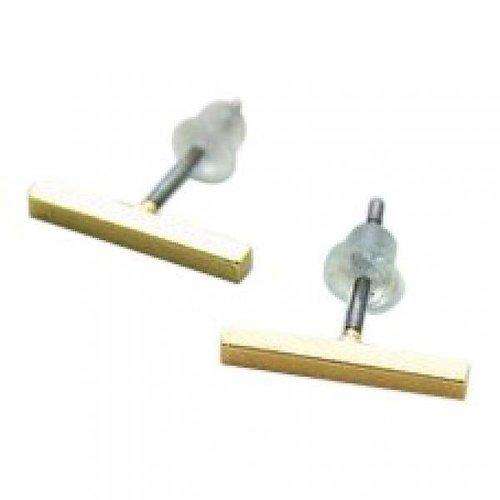 Straight line goud oorbellen