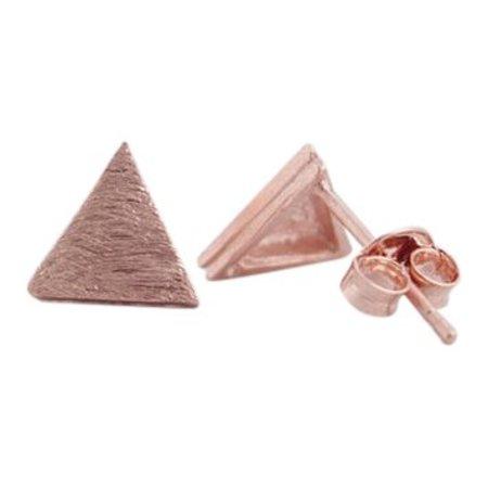 Triangle plate stud oorbellen rosé goud