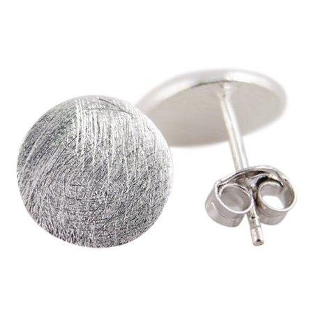 Circle plate stud oorbellen zilver
