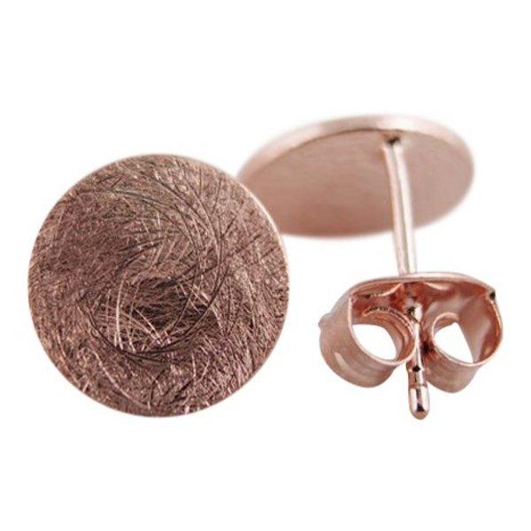 Circle plate stud oorbellen rosé goud