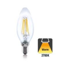 E14 4w Filament Peer, 430 Lumen, 2700K Warm Wit, 2 Jaar Garantie