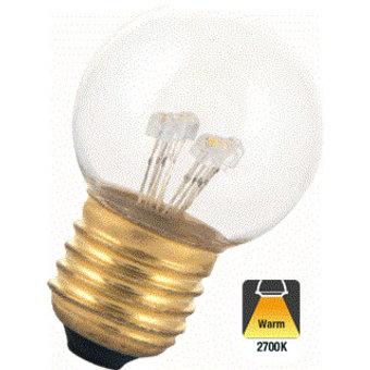 E27 0,7w Bol Lamp, 30 Lumen, Transparante Kap, 2650K Warm Wit